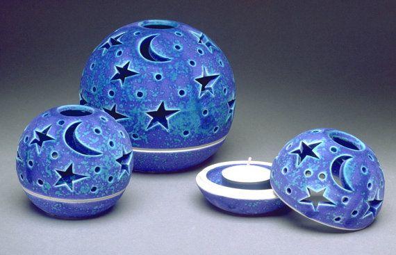 Kerze Laterne Kerze Halter Modern House Decor handgemachte Keramik Hochzeit Laterne Herzstück Teelicht Halter Koryphäe Star Moon Blue White