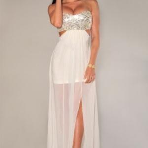 strapless sequince top chiffon evening dress