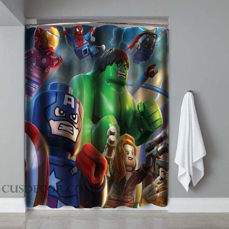 Avengers lego screenprint shower curtains shower curtains pinterest shower curtains - Marvel superhero bathroom accessories ...
