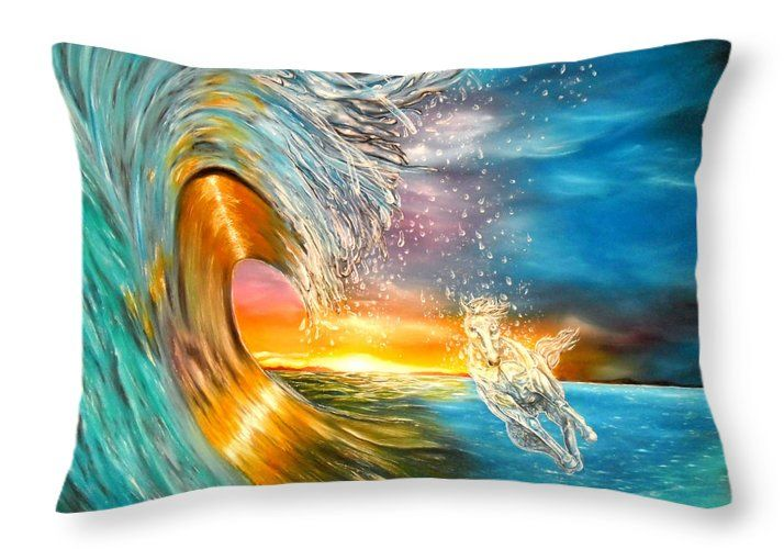 Throw Pillow,  home,accessories,sofa,couch,bedroom decor,cool,beautiful,fancy,unique,trendy,artistic,awesome,fahionable,unusual,gifts,presents,for,sale,design,ideas,blue,colorful,waves,horse,sunset,ocean