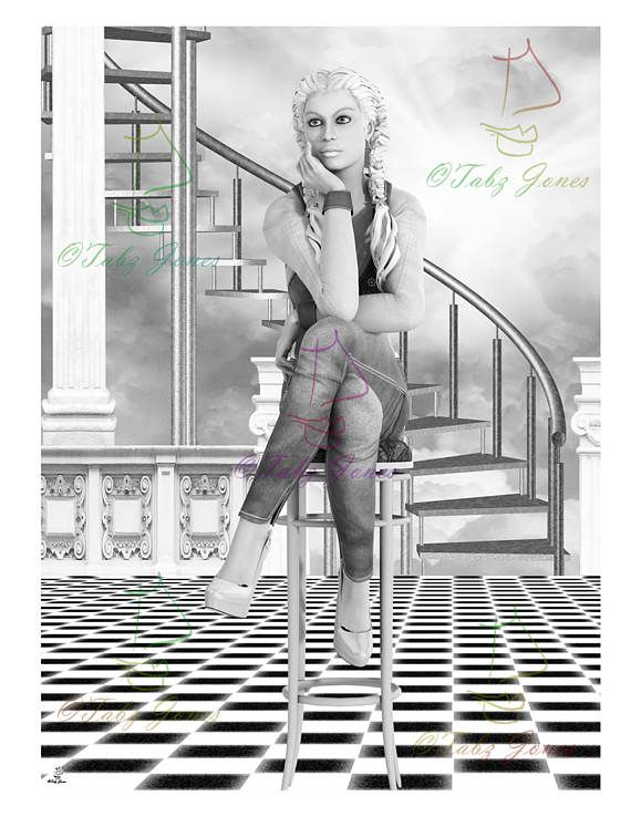 Dreaming Fantasy Art Grayscale Adult Coloring Page