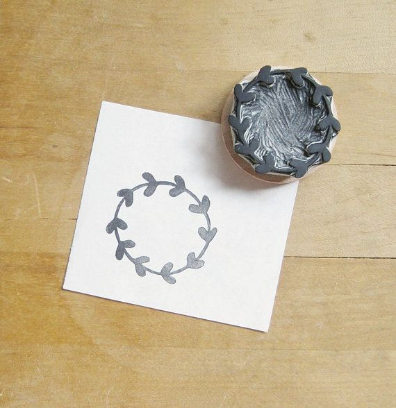 Leafy Wreath Hand Carved Rubber Stamp by extase on Etsy, $12.00