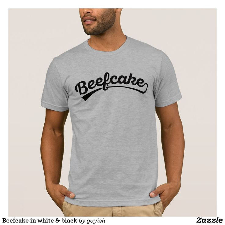 Beefcake text in white & black t-shirt.  #beefcake #muscles #muscular #fitness #fit #male #slang #man #tshirt #gift #giftidea #retro #illustration #tees