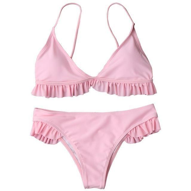 e30ad17d1ebd2 AZULINA Bikini Frilled Padded Plunge Bikini Swimwear Women Swimsuit Low  Waist Ruffle Bathing Suit Brazilian Biquini Swimsuit