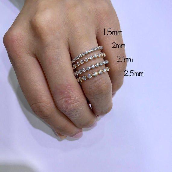 18 ct yellow gold band stacking ring Vintage sparkling diamond cut wedding band keeper ring