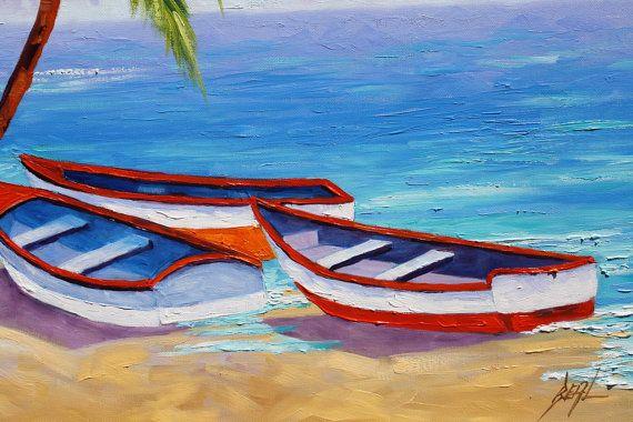 Helder gekleurde boten rusten op het strand, hoge palm en koele Oceaan blues. Vreedzame wolken hangen overheadkosten, stoppen en een tijdje rust.  Laag over laag van transparante olie, zodat u meerdere kleuren die een diepe rijkdom deze originele schilderij geven kunt zien.  Titel: Ocean Breeze  Afmeting: 24 x 30  Op een archivering gallery gewikkeld doek. Verf wikkelt rond de zijkanten.  Losse & schilderkunstige.  VOORWAARDE: NIEUWE, UITSTEKENDE  Professioneel vast, klaar om op te hangen...