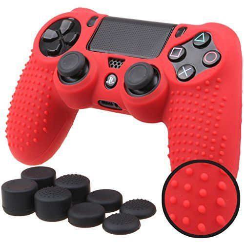 Pandaren STUDDED Antislip Silicone Cover Skin Set for PlaySation 4 controllerRed controller skin x 1  FPS PRO Thumb Grips x 8 * You can get more details by clicking on the image.Note:It is affiliate link to Amazon.