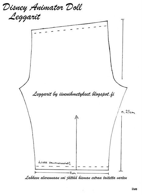 Leggings Pattern for Disney Animator Doll. Print on A4 Paper. Intended fabric is tricot. (Gayle Cox note).