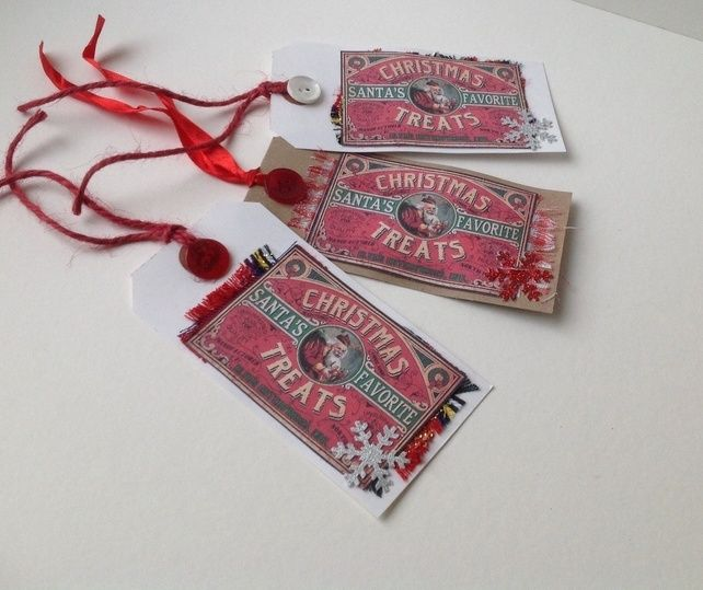 Christmas Gift Tags, Vintage 'Santa Treats'Theme, Set of Three,Handmade. £2.25