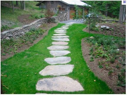 Concrete stepping stones.