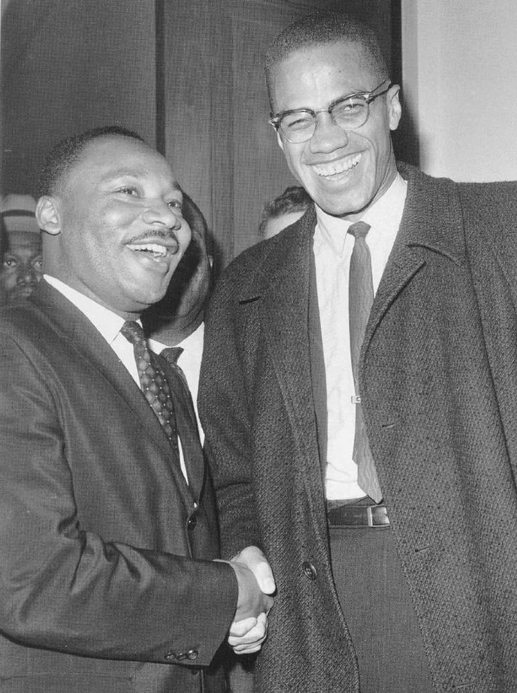 This is a famous picture of Dr. Martin Luther King Jr. and Malcolm X. Both of these men were Civil Rights activists, and Malcolm X was assassinated in 1965 by Nation of Islam Members, because of their disagreement in his influential messages about Civil Rights.