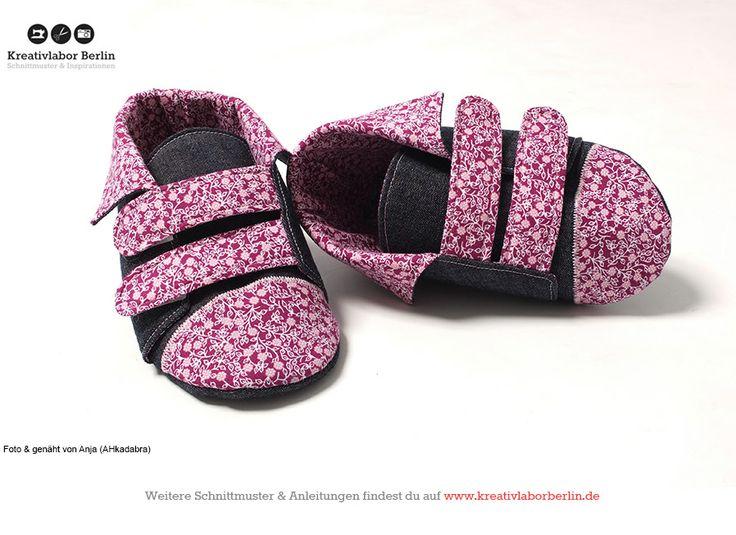 Schnittmuster Kinderschuhe mit Klettverschluss Gr. 20 bis 30 http://www.kreativlaborberlin.de/naehanleitungen-schnittmuster/kinderschuhe-mit-klettverschluss-groesse-20-bis-30/