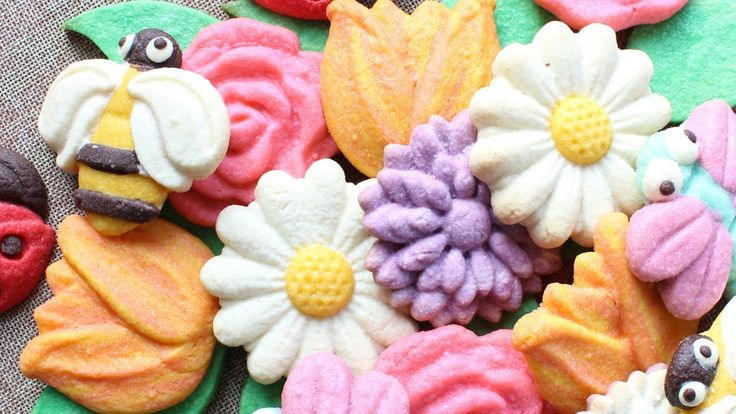 Assorted cookie flowers for mom - Undecorated cookies all done without i...