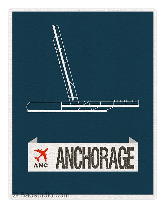 Fly me to Anchorage ANC - World Traveler Series Alaska Ted Stevens International Airport Code Runway Map Aviation Art Print Poster