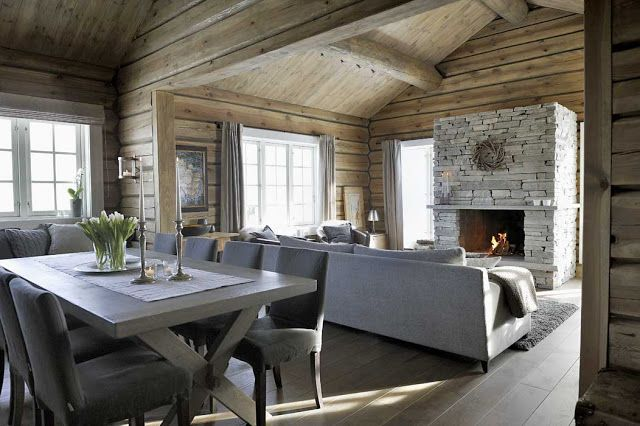 This winter cottages from Trysil, Norway has beautiful, rustic wood and stone fittings and natural fabrics that create a care-free atmosphere.