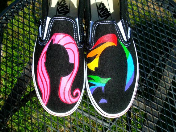 Mix And Match Any Character My Little Pony Silhouette Custom Painted Shoes Vans Toms Converse Rainbow Dash Pinkie Pie Rarity on Etsy, $79.95