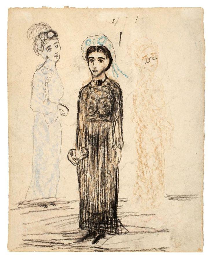 Carl Fredrik Hill, 1849 – 1911 Kvinnor på stranden undated Krita på papper 21 x 17 cm (frame 47 x 50 cm)