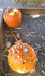 Pumpkins and Golf Tees - a great fine motor activity for preschool and pre-k. Kids LOVE this!!