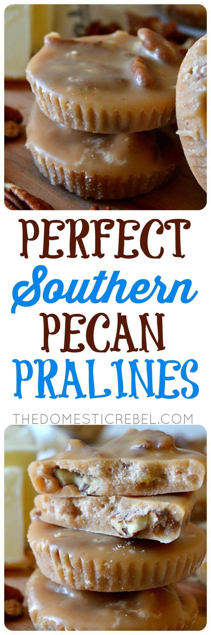 Southern-style Pecan Pralines | The Domestic Rebel | Buttery, nutty and filled with brown sugar, toasted pecan and vanilla flavors, they practically melt-in-your-mouth with this foolproof recipe!