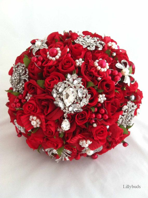 The Victoria Red Rose Rhinestone Brooches and Artificial Flowers Bouquet