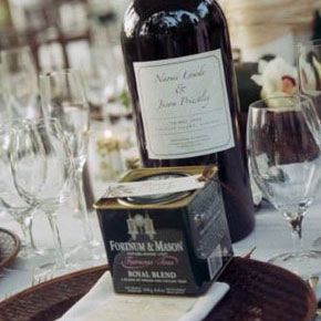 At their Bahamian wedding, Jason Priestley and Naomi Lowde gave guests Fortnum & Mason royal blend tea as wedding favors. The bride, who's from the UK, chose the favors in honor of her British heritage. See more photos of Jason Priestley and Naomi Lowde's wedding.