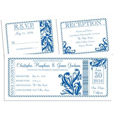 Damask theme wedding invitation | Destination Love 3 for 1 Invitation Boarding Pass inspired wedding invitations; perfect for a beach wedding and prints in many colors!