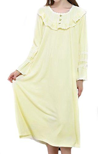34ddde78649a MLG Womens Loose Shift Lace-trim Polyester Long Cute Nightgown Yellow  X-Large