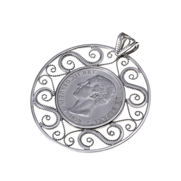 Colgante de Moneda autentica Alfonso XII.   Filigrana  Hecho a mano  Diseño único  Moneda autentica  Plata de Ley 925