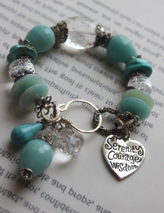 ON SALE chunky bracelet, heart bracelet, calchadony bracelet, blue bracelet, artisan silver bracelet, charm bracelet
