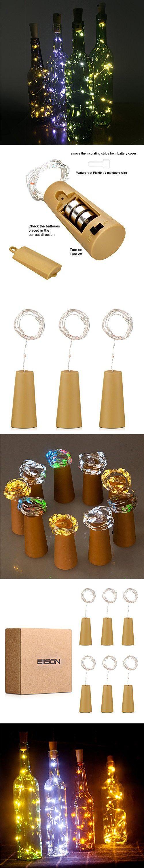 Spark Wine Bottle Lights,Starry Bottle Lamp Kit, Cork Shape Striping Lights ,15-MicroLED, Copper Wire, Battery Light,Rope Lamp,6 Pack (White ), EIISON
