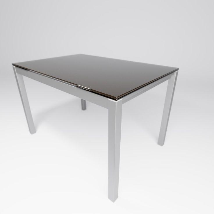 Mesa de cocina extensible con dos alas laterales en cristal. Disponible en varios colores.   Acabado moka brillo