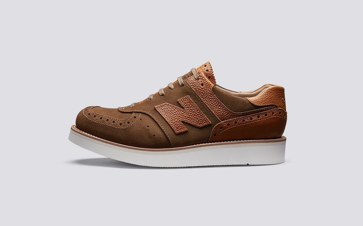 Grenson x New Balance | M576GWV2 - Mens Welted Sneaker in Snuff Suede and Grain Leather on White Rubber Sole | Grenson Shoes - Side View