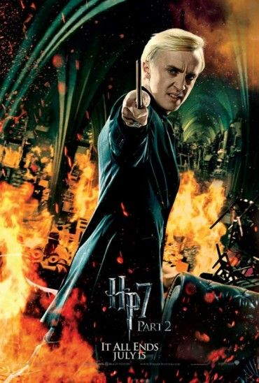 11x17 Inch Harry Potter and The Deathly Hallows Part 2 poster features Draco Malfoy surrounded by flames with wand raised to cast a spell. Get it now at http://harrypottermovieposters.com/product/harry-potter-and-the-deathly-hallows-part-2-movie-poster-style-p-11x17-inch-mini-poster/