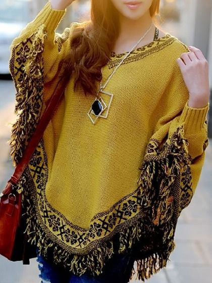 Love Love Love! Mustard Yellow V neck Bat Cape Top with Tassel Hem Poncho #Mustard #Yellow #Knit #Tassel #Poncho #Fall #Fashion #Trends