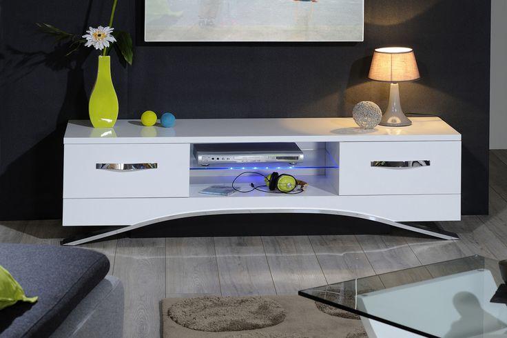 Meuble TV design blanc laqué avec LED