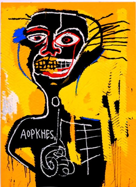 Jean-Michel Basquiat Title: Head 1  Date: 1981 Materials: oil on canvas   I like this painting because it looks like a simple piece of art but it involved a lot of detail and color that makes it really interesting.