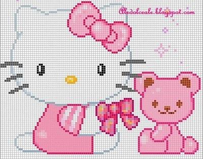 Hello Kitty bow teddy perler pattern