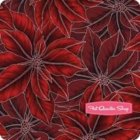 Warm Wishes Metallic Silver on Red Packed Poinsettias Yardage <br/>SKU