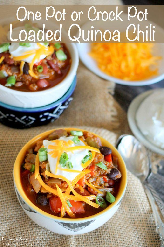 Uno o Pot Crock Pot Loaded La quinua es el chile chile vegetariano sano perfecto que satisfará incluso a los más quisquillosos comedor de la carne!
