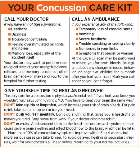 A Head Injury You Should Never Ignore  http://www.prevention.com/health/health-concerns/concussion-head-injuries-and-head-pain-symptoms-and-treatments