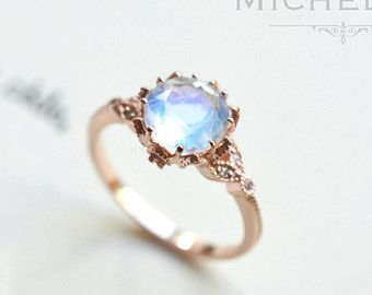 14/18K Rainbow Moonstone Engagement Ring with by MichelliaDesigns