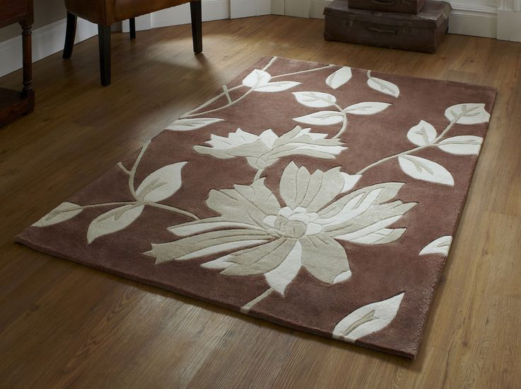 Half Price Modern Brown Fl Rug 150x230cm 4ft 9 X 7ft