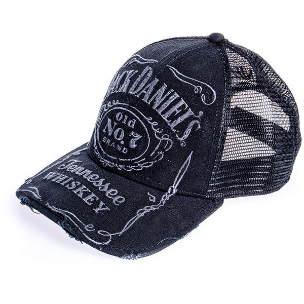 Jack Daniels hat, netted headwear, trucker cap, Jack Daniels merch UK ($22) found on Polyvore