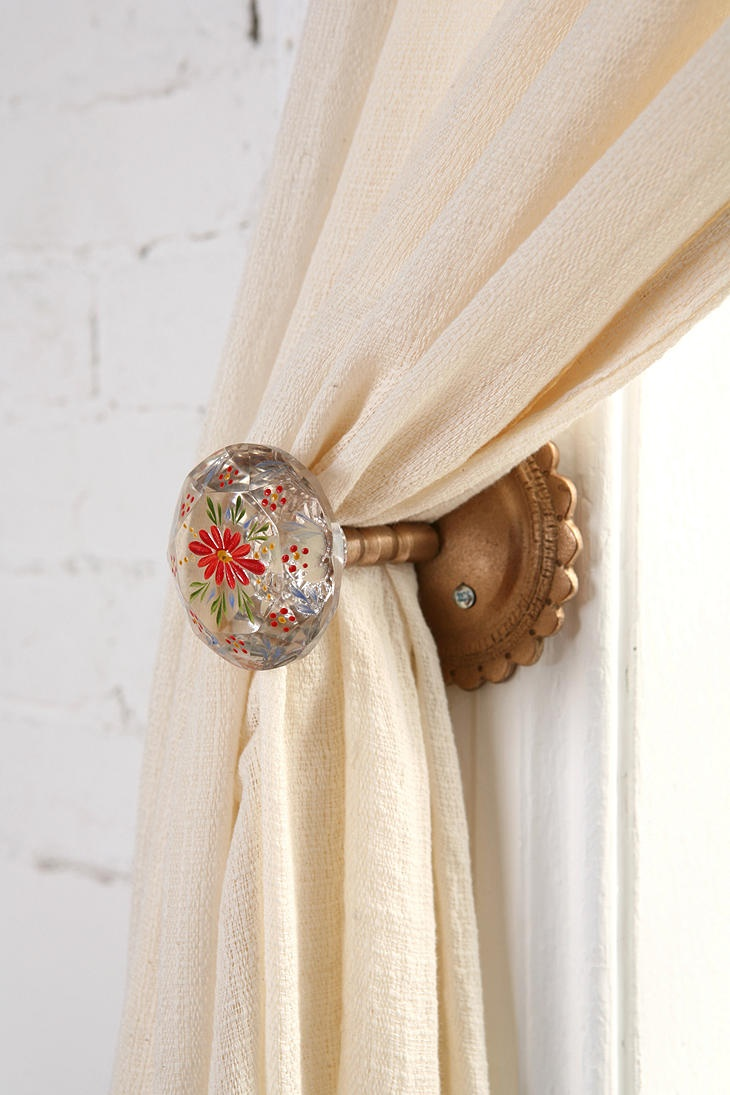 Curtain hardware tiebacks - Painted Doorknob Curtain Tieback