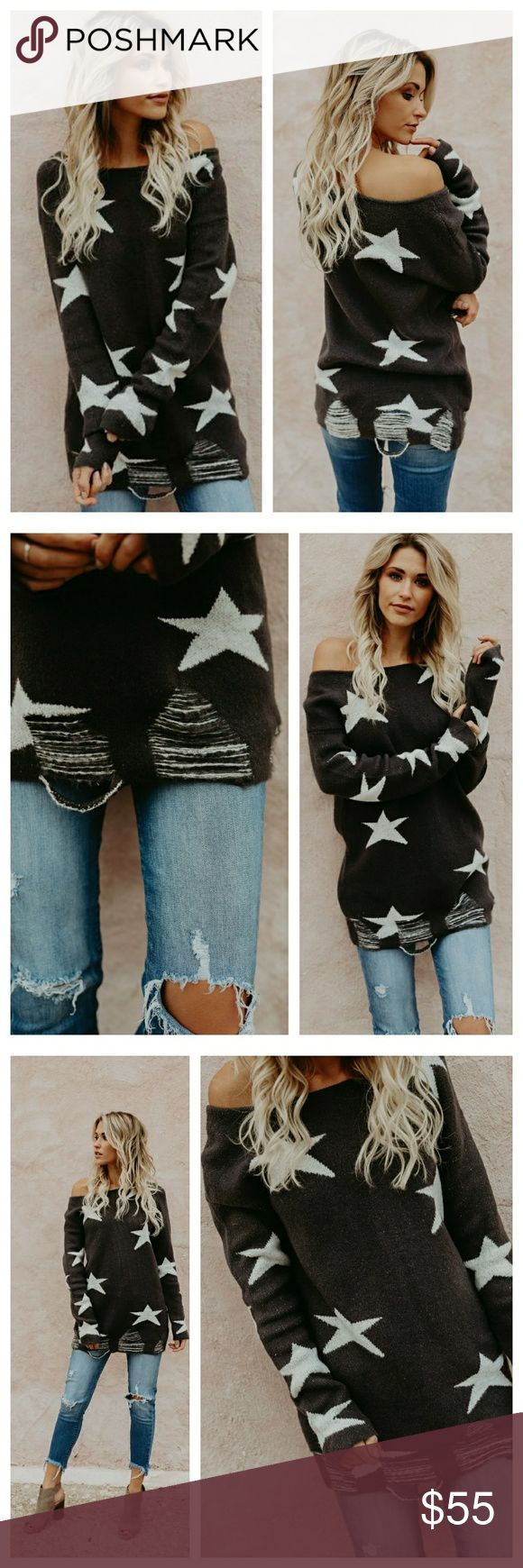 Preorder ️ charcoal distressed star sweater New boho style charcoal distressed hemline sweater in charcoal featuring ivory stars  65% acrylic 25% nylon 10% polyester  *this item ships in 3-7 business days Sweaters