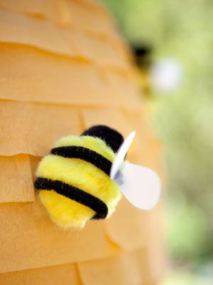 Need spring counters, sorting pompoms, or a fun and adorable craft? Make fuzzy bumbles! Each bee is made from a large yellow pom pom, a small black pom pom, some black pipe cleaner, and white felt or other recycled fabric.