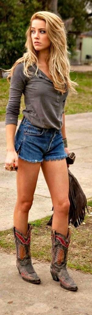 Like the shirt, boots and bag ...shorts NAH ....
