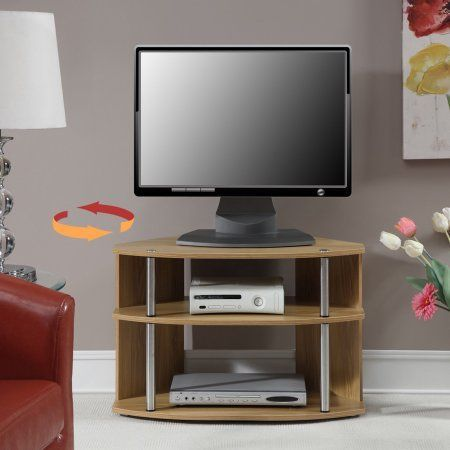 Convenience Concepts Designs2Go; Swivel TV Stand - Black and Stainless Steel, Beige