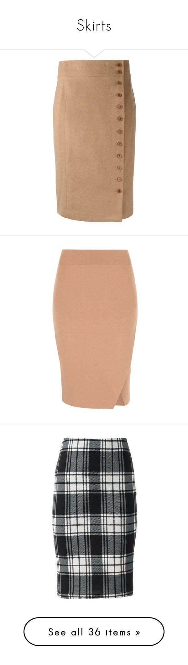 """Skirts"" by klm62 ❤ liked on Polyvore featuring skirts, brown, camel pencil skirt, knee length pencil skirt, brown skirt, polo ralph lauren, beige skirt, slit pencil skirt, mid calf pencil skirt and red midi skirt"