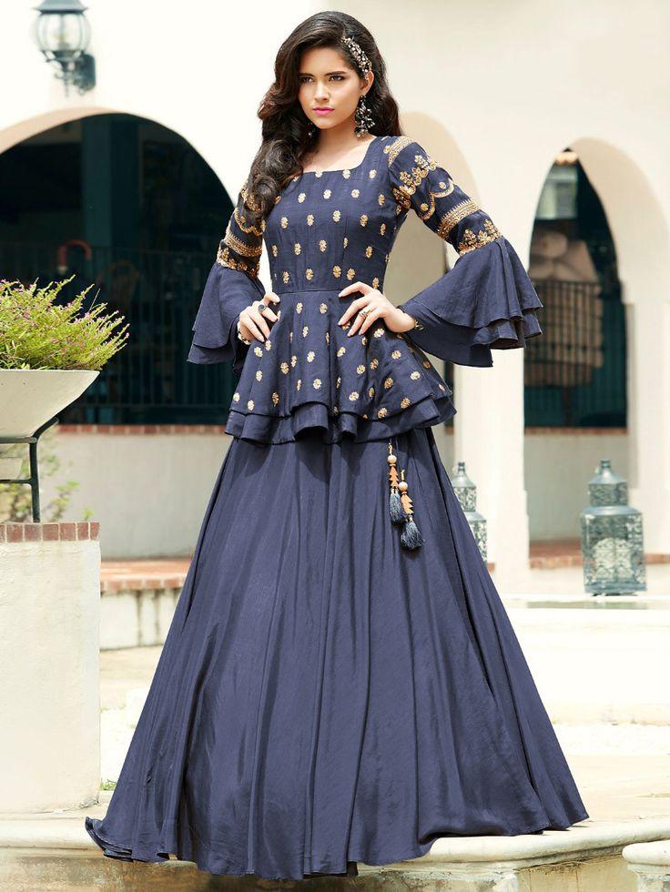 Blue Silk Plain Designer Lehenga Choli with Layered Sleeved Peplum Blouse